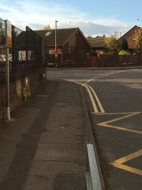 Double yellow lines at Brinsley Primary School