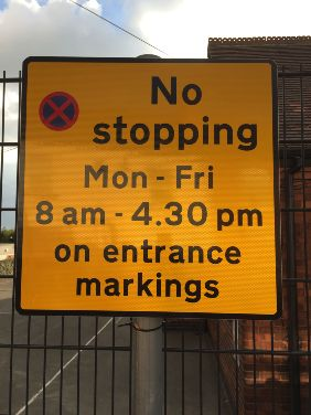 No stopping sign at Brinsley Primary School